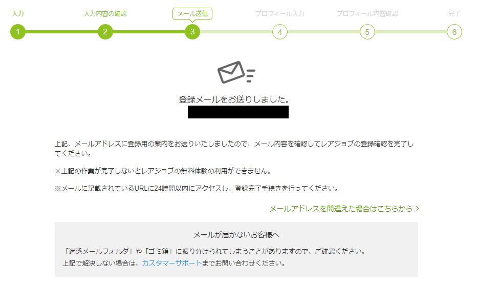 登録メールを送信しました、という画面
